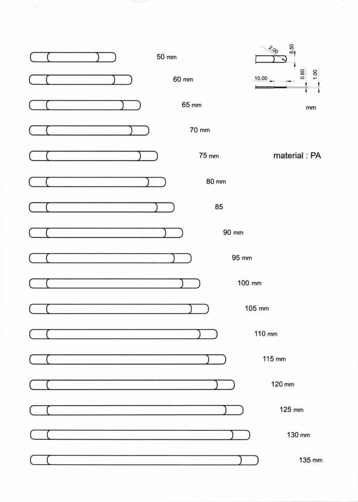 Kostice boční prádlové, délka 50 mm