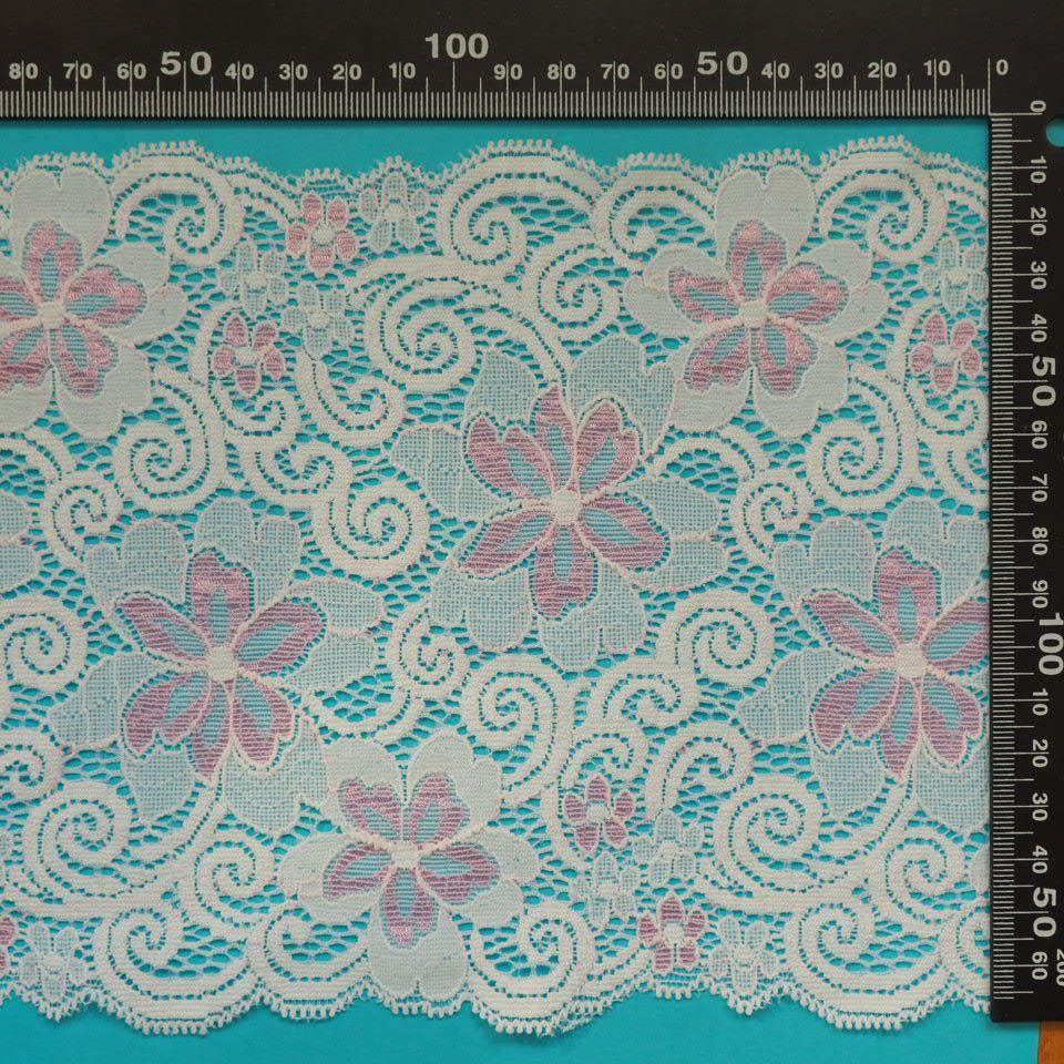krajka elastická 78946 bílá/růžová